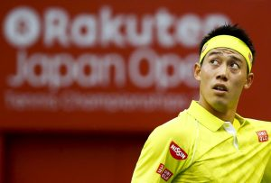 Japan's Kei Nishikori reacts as he plays Benoit Paire of France during their men's singles semifinal match at the Japan Open tennis championships in Tokyo October 10, 2015. REUTERS/Thomas Peter