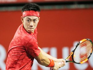 ‹ÑDŒ/Kei Nishikori (JPN), OCTOBER 3, 2016 - Tennis : Rakuten Japan Open Tennis Championships 2016, Men's Singles first round match between Kei Nishikori (JPN) 2-1 Nicolas Almagro (ESP) at Ariake Coliseum, Tokyo, Japan. (Photo by AFLO SPORT)
